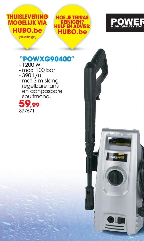 Hogedrukreiniger 1200W POWXG90400 De Powerplus X Garden POWXG90400 hogedrukreiniger van 1200W heeft een druk van 100 bar en een debiet tot 360 liter per uur. De hogedrukreiniger heeft een lange slang van 3 meter waarmee je van een grote bewegingsvrijheid geniet. De motor van deze hogedrukreiniger wordt enkel geactiveerd als je het spuitpistool aanzet; zeer handig in gebruik én een enorme besparing op energie en water.  <ul><li>Regelbaar spuitpatroon met verstelbare spuitmond</li><li>Automatisch start/stop-systeem</li></ul>
