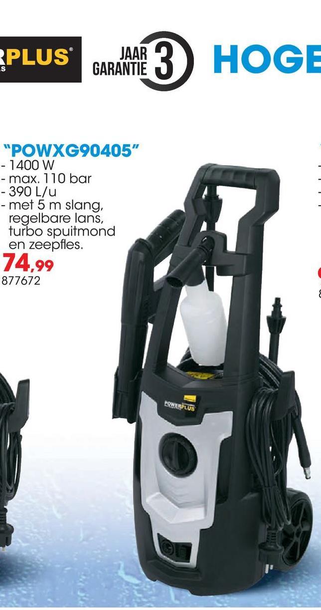 Hogedrukreiniger 1400W POWXG90405 De Powerplus X Garden POWXG90405 hogedrukreiniger van 1400W heeft een druk van 110 bar en een debiet tot 390 liter per uur. De hogedrukreiniger heeft een lange slang van 5 meter waarmee je van een enorme bewegingsvrijheid geniet. De motor van deze hogedrukreiniger wordt enkel geactiveerd als je het spuitpistool aanzet; zeer handig in gebruik én een enorme besparing op energie en water. Deze hogedrukreiniger heeft een zeepfles die je kan aansluiten op het toestel, zodat je makkelijk detergent kan gebruiken bij het reinigen.  <ul><li>Regelbaar spuitpatroon met verstelbare spuitmond  </li><li>Keuze tussen een krachtige precisiestraal en een zachtere sproeistraal</li><li>Roterende turbo-spuitmond voor het meest hardnekkige vuil </li><li>Automatisch start/stop-systeem</li></ul>