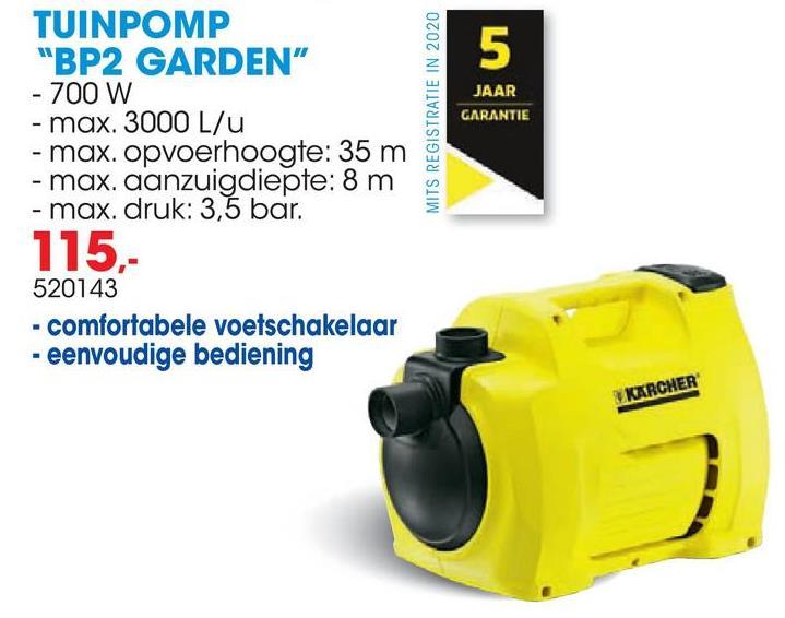 Tuinpomp BP2 Garden 700W De BP2 Garden tuinpomp is een compacte pomp voor snelle en comfortabele besproeïng. De pomp heeft een ergonomische handgreep, een comfortabele voetschakelaar en een jetpomp. De pomp wordt geleverd met 2 aansluitstukken G1 op G1. 5 jaar garantie mits registratie op www.karcher.be.