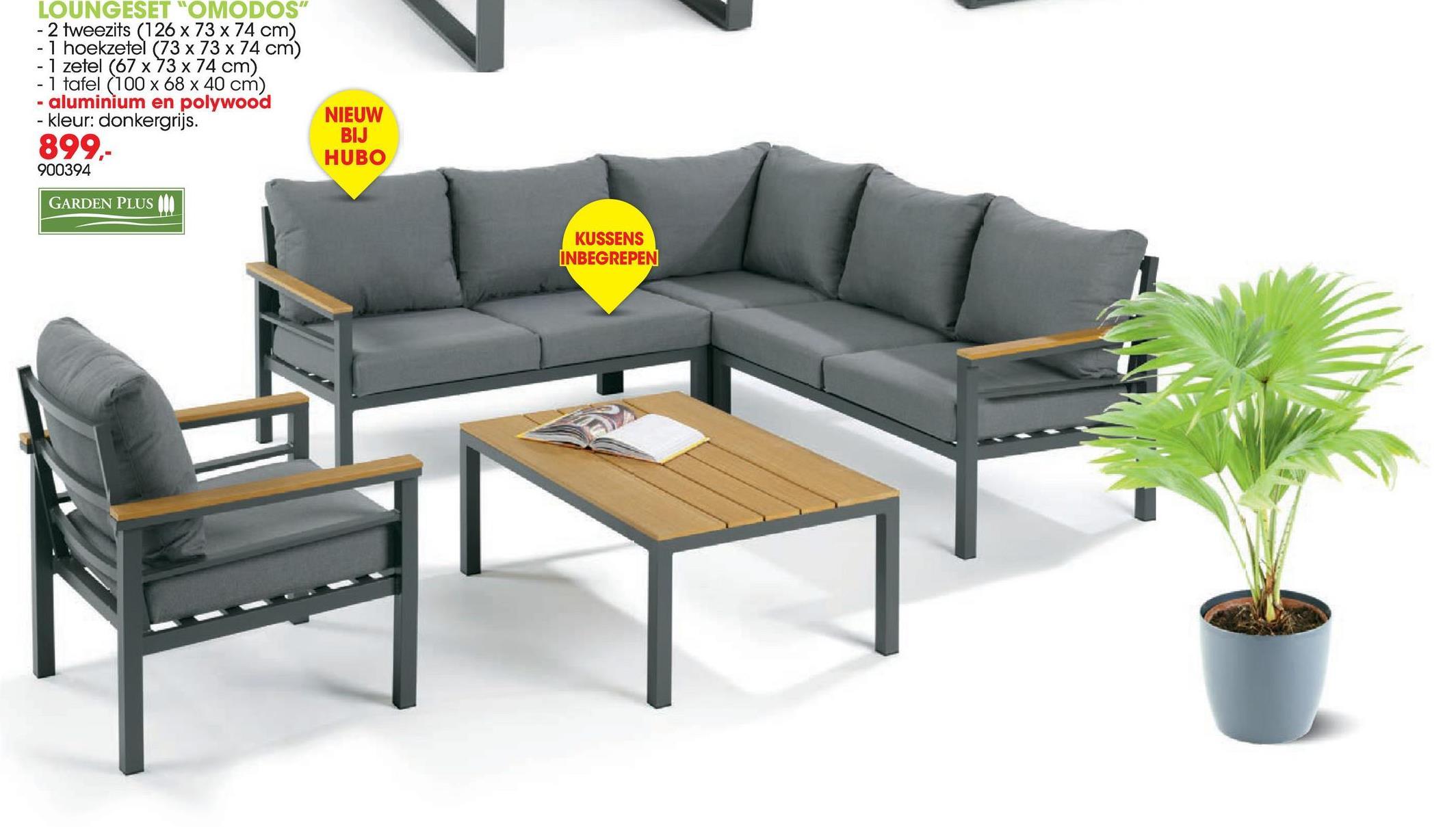 """LOUNGESET """"OMODOS"""" - 2 tweezits (126 x 73 x 74 cm) - 1 hoekzetel (73 x 73 x 74 - 1 zetel (67 x 73 x 74 cm) - 1 tafel (100 x 68 x 40 cm) - aluminium en polywood - kleur: donkergrijs. 899,- 900394 NIEUW BIJ HUBO GARDEN PLUS KUSSENS INBEGREPEN"""
