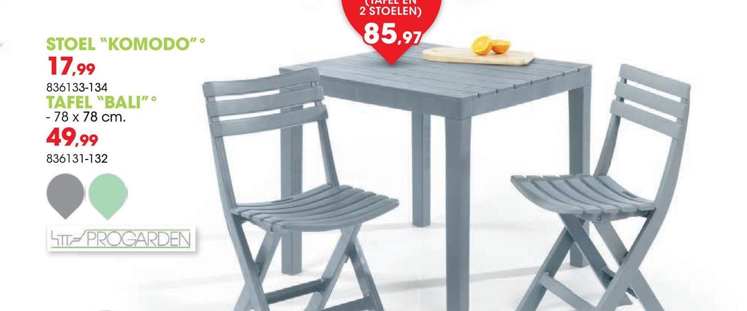 Vouwstoel Komodo grijs De grijze vouwstoel Komodo van Progarden is gemakkelijk dicht te vouwen zodat je hem probleemloos kan opbergen zonder veel ruimte te verliezen. De stoel past perfect bij tafel Bali (ref. 836131) en is ook verkrijgbaar in groen.