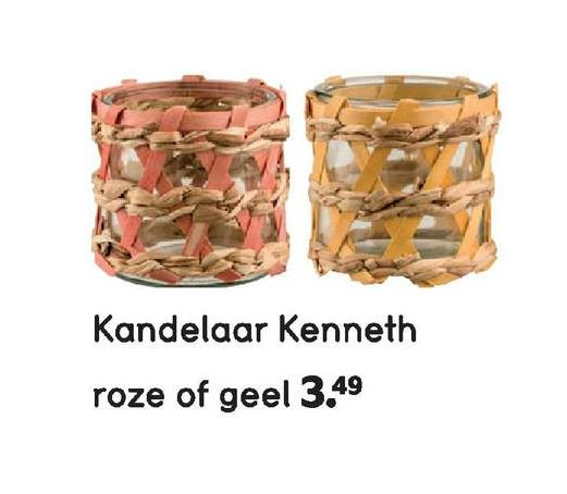Kandelaar Kenneth roze of geel 3.49
