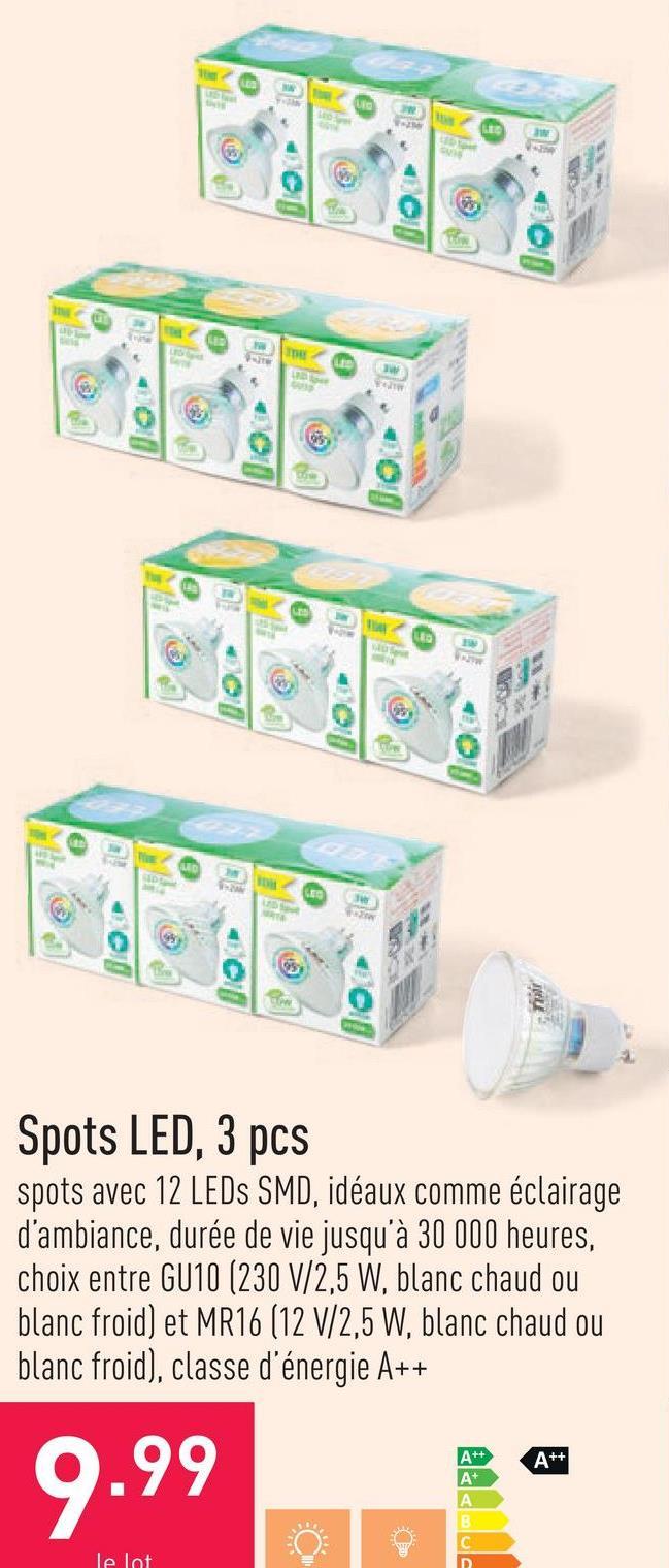 Spots LED, 3 pcs spots avec 12 LEDs SMD, idéaux comme éclairage d'ambiance, durée de vie jusqu'à 30 000 heures, choix entre GU10 (230 V/2,5 W, blanc chaud ou blanc froid) et MR16 (12 V/2,5 W, blanc chaud ou blanc froid), classe d'énergie A++