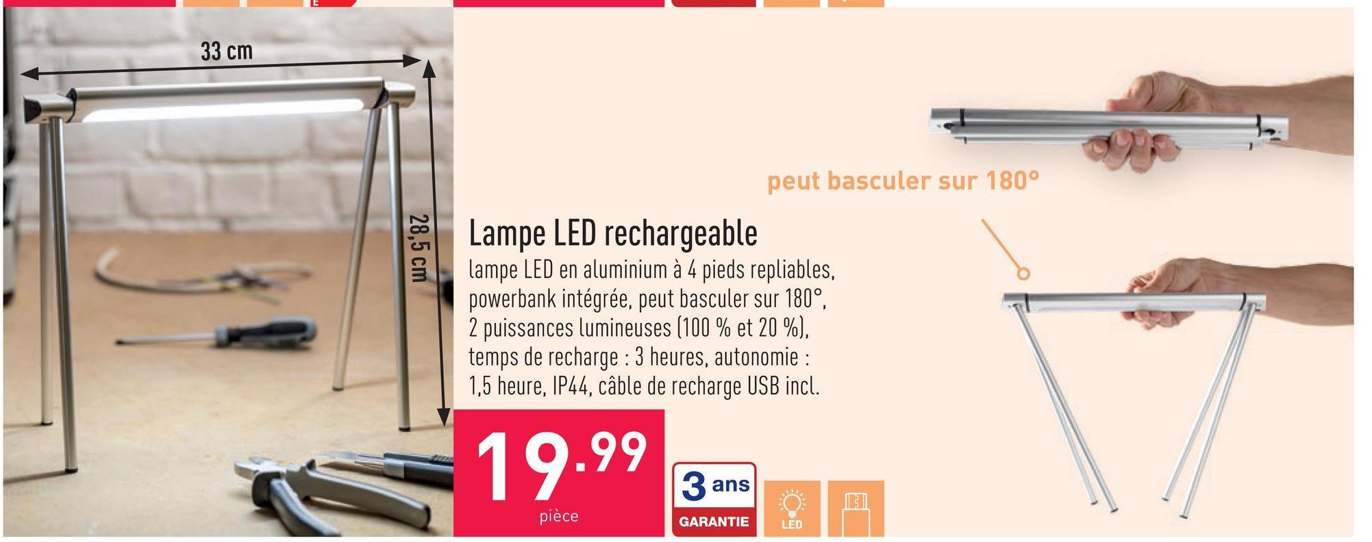 Lampe LED rechargeable lampe LED en aluminium à 4 pieds repliables, powerbank intégrée, peut basculer sur 180°, 2 puissances lumineuses (100 % et 20 %), temps de recharge : 3 heures, autonomie : 1,5 heure, IP44, câble de recharge USB incl.