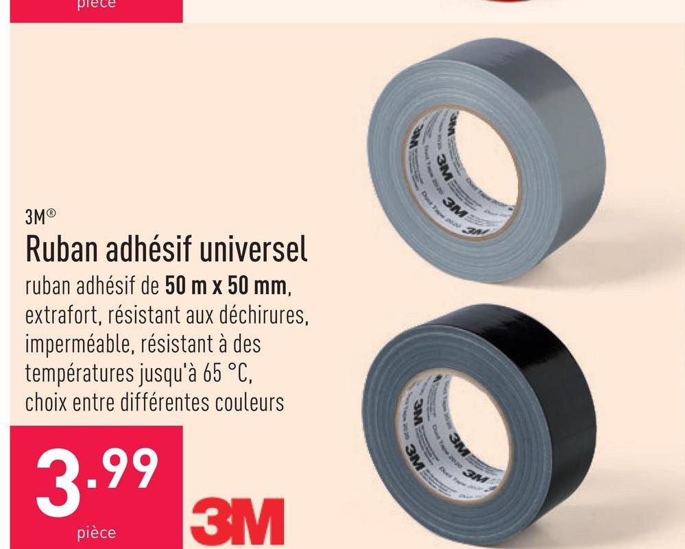 Ruban adhésif universel ruban adhésif de 50 m x 50 mm, extrafort, résistant aux déchirures, imperméable, résistant à des températures jusqu'à 65 °C, choix entre différentes couleurs