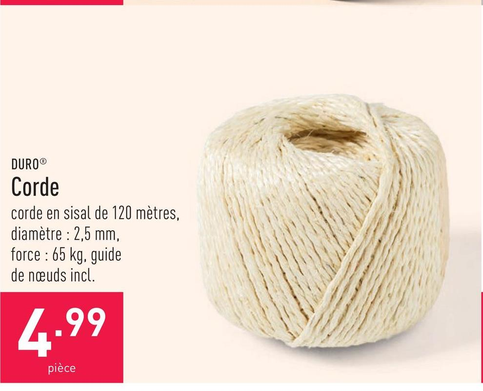 Corde corde en sisal de 120 mètres, diamètre : 2,5 mm, force : 65 kg, guide de nœuds incl.