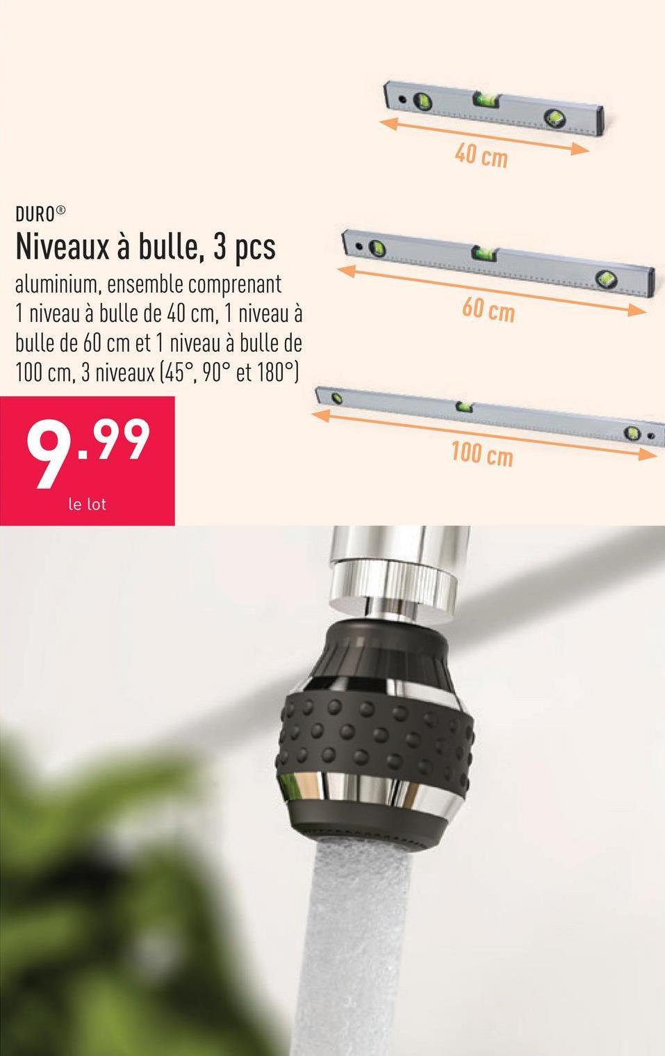 Niveaux à bulle, 3 pcs aluminium, ensemble comprenant 1 niveau à bulle de 40 cm, 1 niveau à bulle de 60 cm et 1 niveau à bulle de 100 cm, 3 niveaux (45°, 90° et 180°)