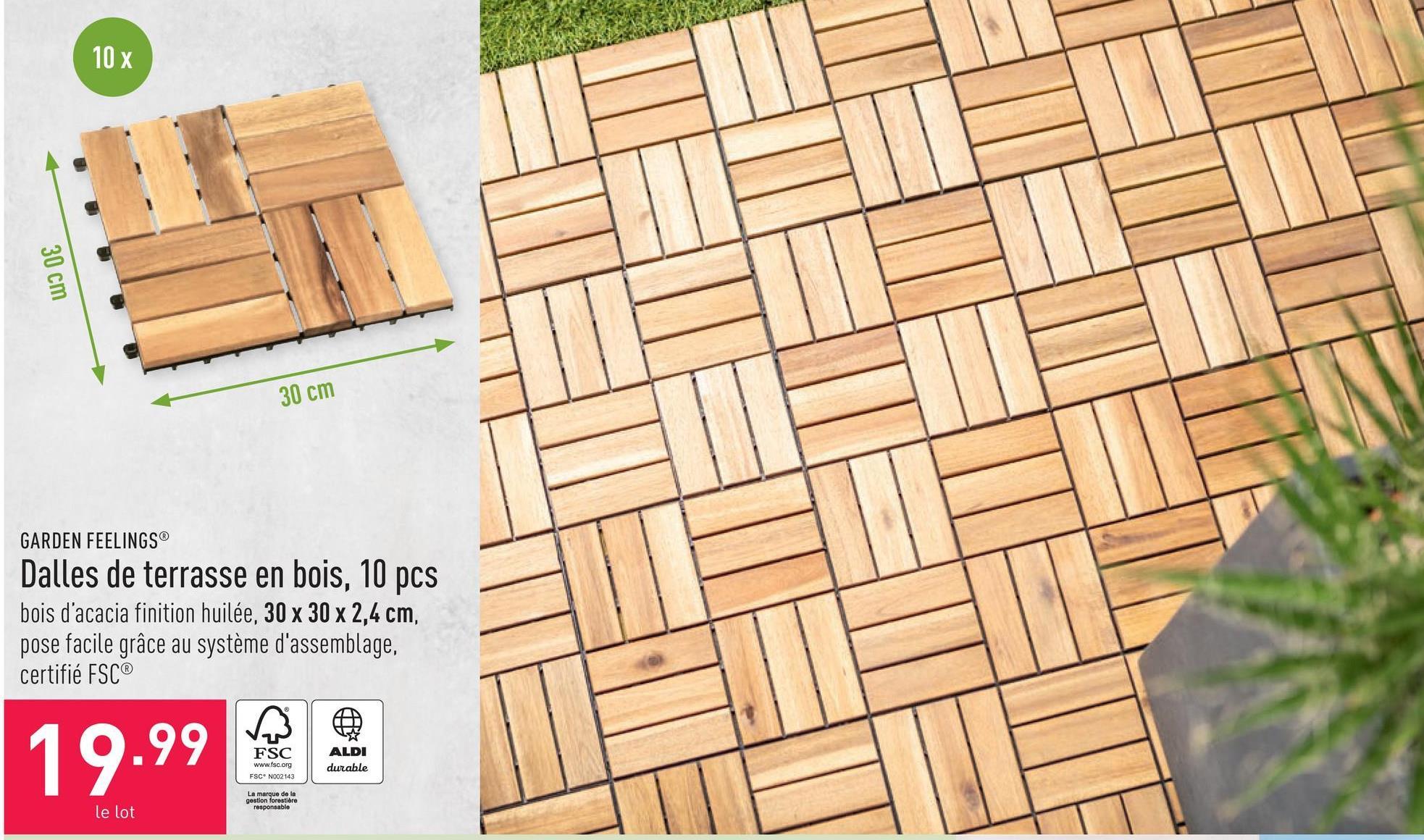 Dalles de terrasse en bois, 10 pcs bois acacia finition huilée, 30 x 30 x 2,4 cm, pose facile grâce au système d'assemblage, certifié FSC®