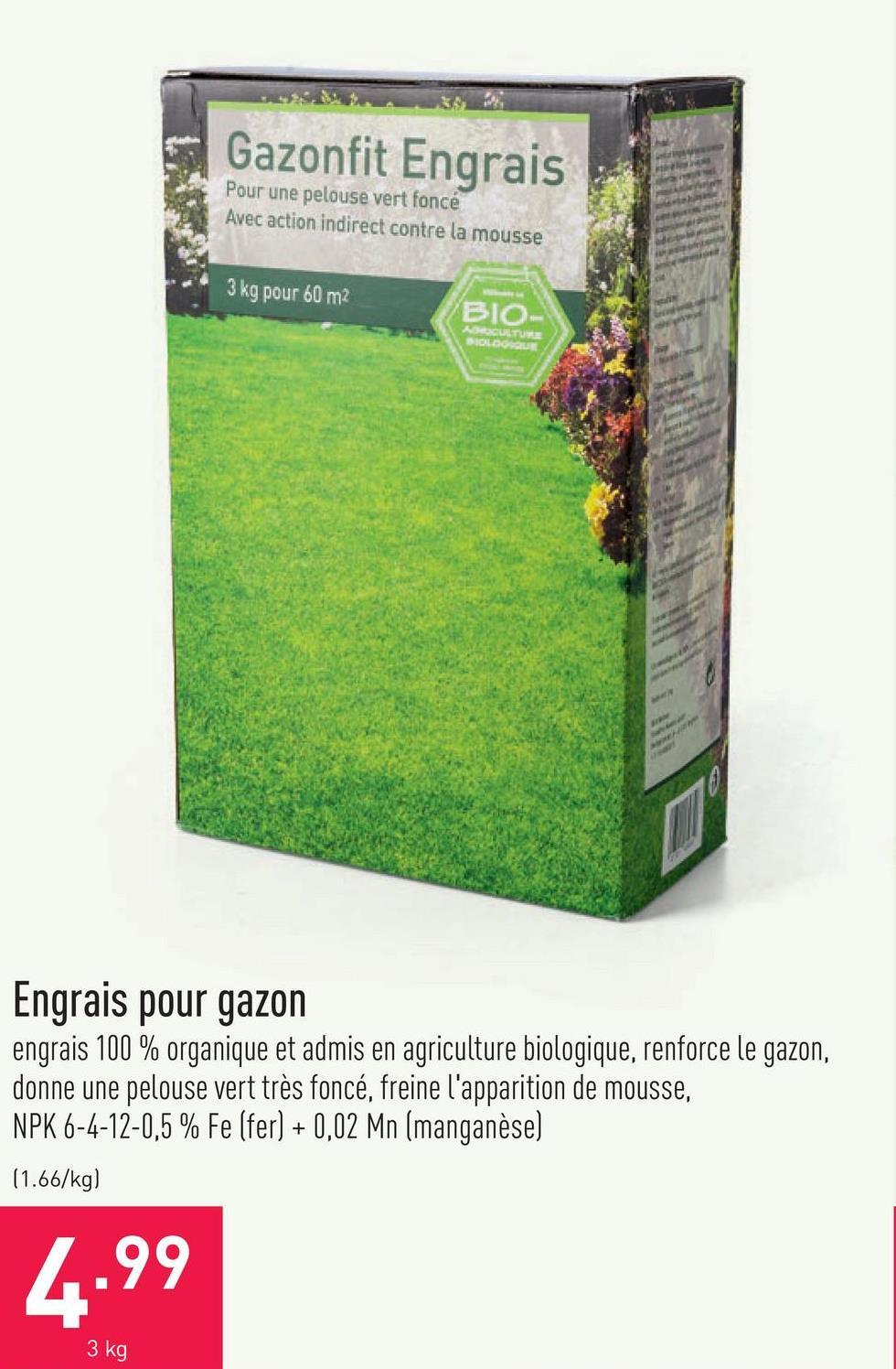 Engrais pour gazon engrais 100 % organique et admis en agriculture biologique, renforce le gazon, donne une pelouse vert très foncé, freine l'apparition de mousse, NPK 6-4-12-0,5 % Fe (fer) + 0,02 Mn (manganèse)