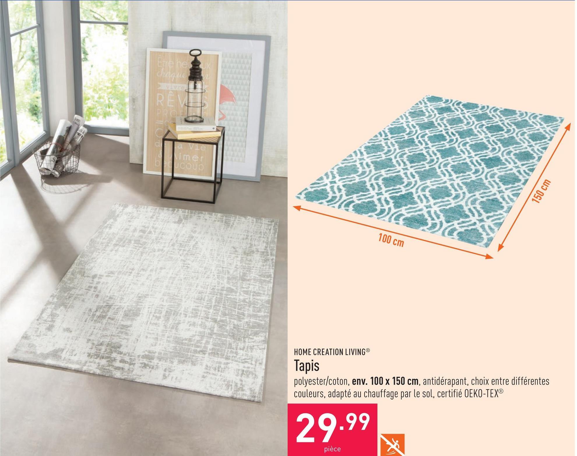 Tapis polyester/coton, env. 100 x 150 cm, antidérapant, choix entre différentes couleurs, adapté au chauffage par le sol, certifié OEKO-TEX®