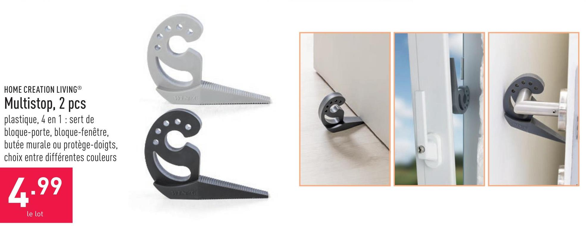 Multistop, 2 pcs plastique, 4 en 1 : sert de bloque-porte, bloque-fenêtre, butée murale ou protège-doigts, choix entre différentes couleurs