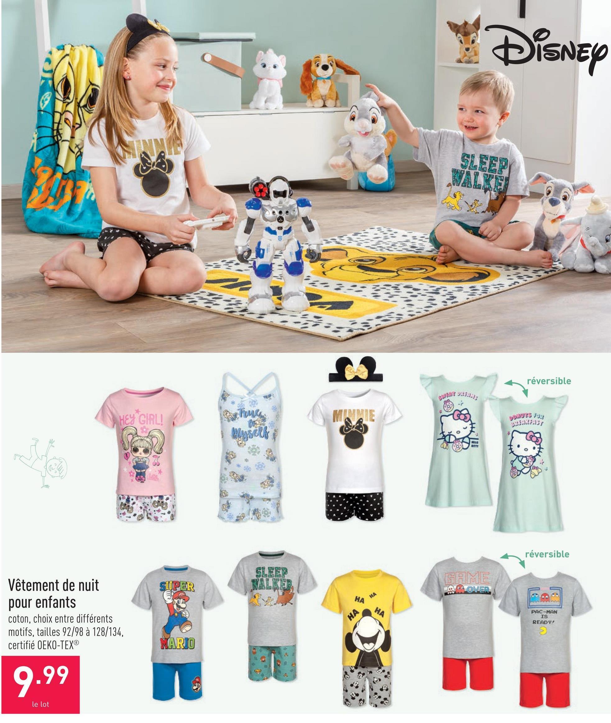 Vêtement de nuit pour enfants coton, choix entre différents motifs, tailles 92/98 à 128/134, certifié OEKO-TEX®