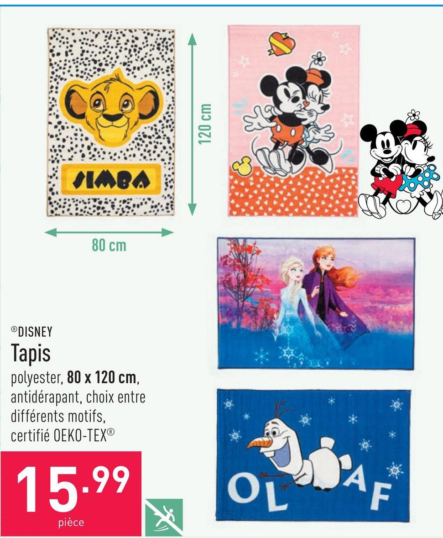 Tapis polyester, 80 x 120 cm, antidérapant, choix entre différents motifs, certifié OEKO-TEX®