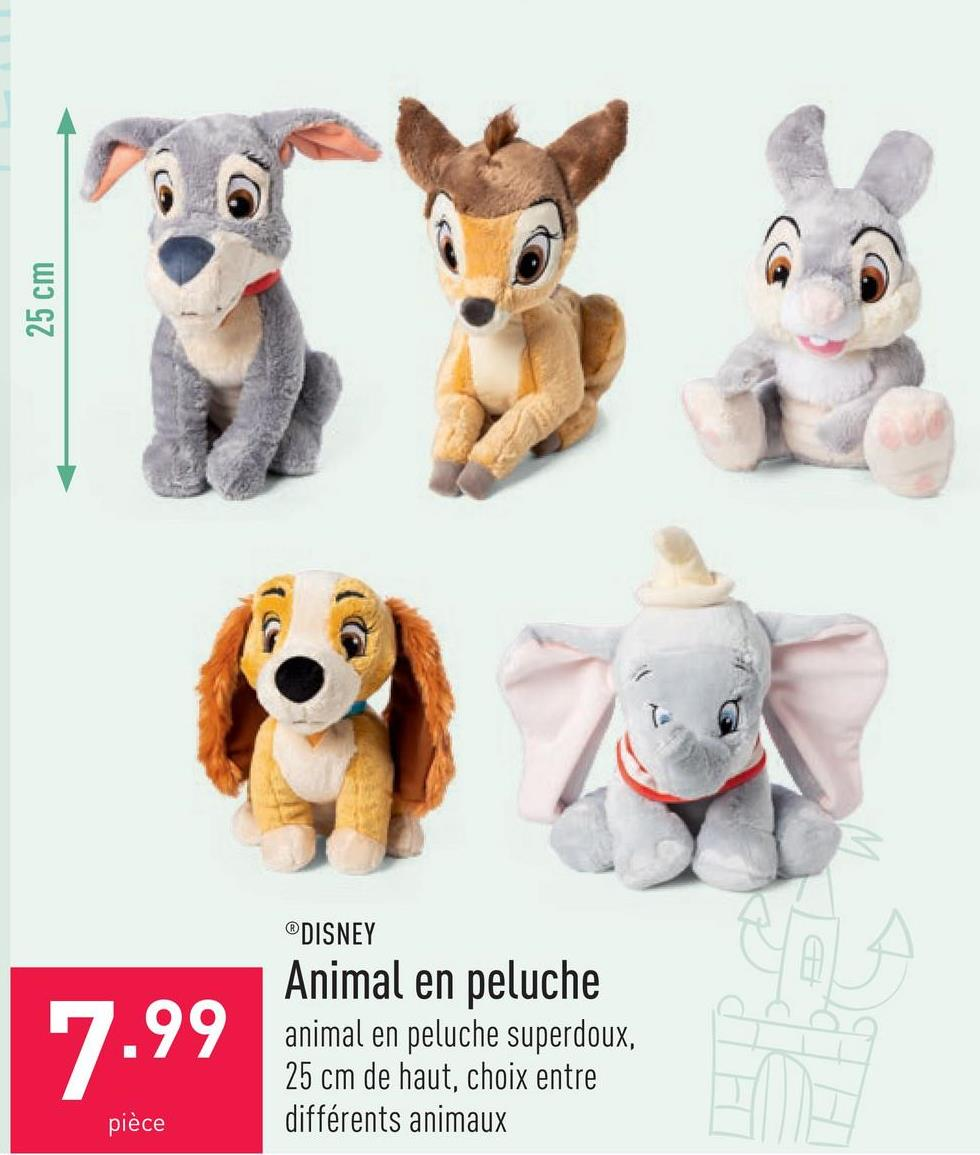 Animal en peluche animal en peluche superdoux, 25 cm de haut, choix entre différents animaux