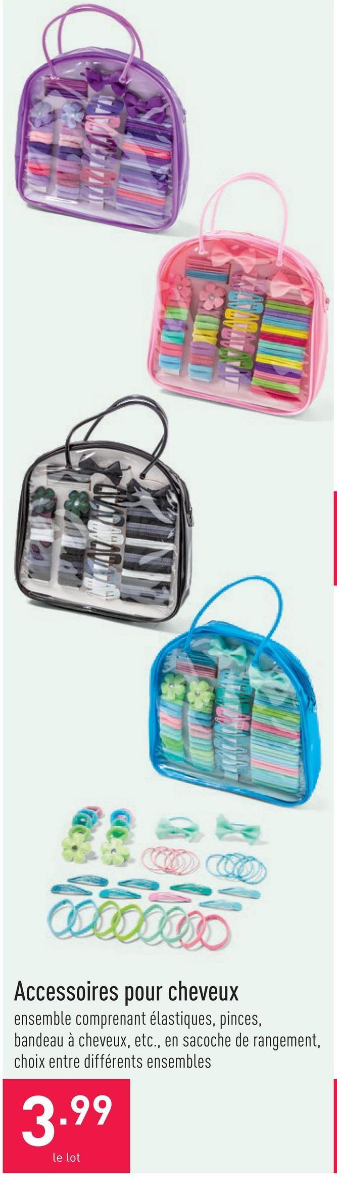 Accessoires pour cheveux ensemble comprenant élastiques, pinces, bandeau à cheveux, etc., en sacoche de rangement, choix entre différents ensembles
