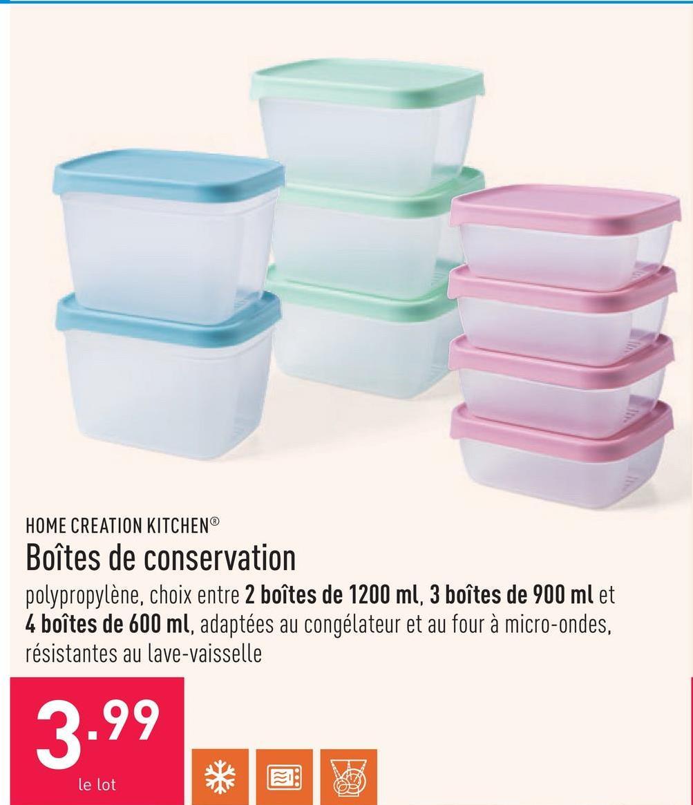 Boîtes de conservation polypropylène, choix entre 2 boîtes de 1200 ml, 3 boîtes de 900 ml et 4 boîtes de 600 ml, adaptées au congélateur et au four à micro-ondes, résistantes au lave-vaisselle