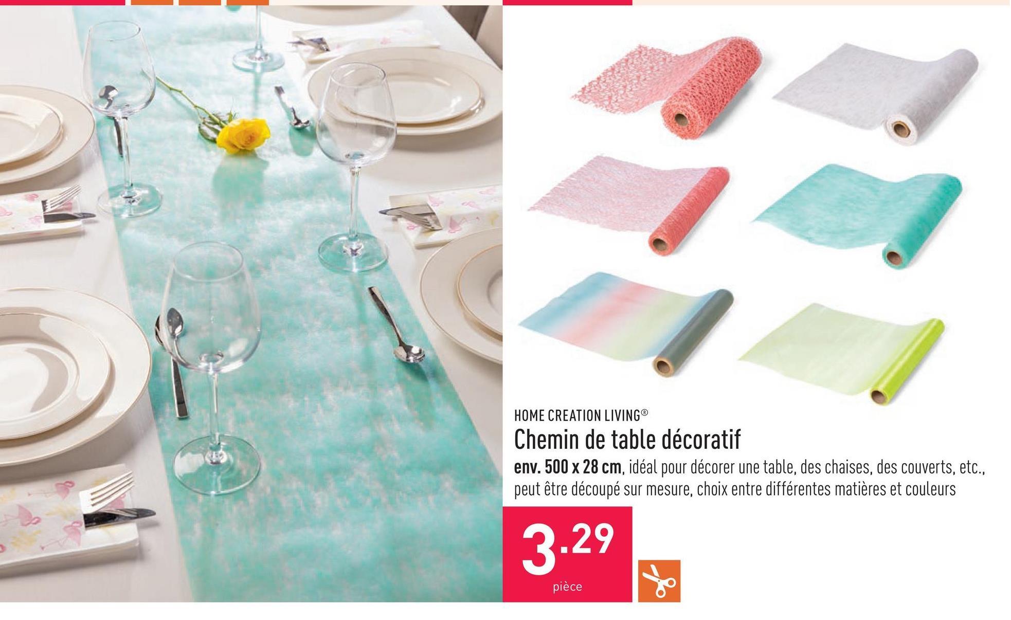 Chemin de table décoratif env. 500 x 28 cm, idéal pour décorer une table, des chaises, des couverts, etc., peut être découpé sur mesure, choix entre différentes matières et couleurs