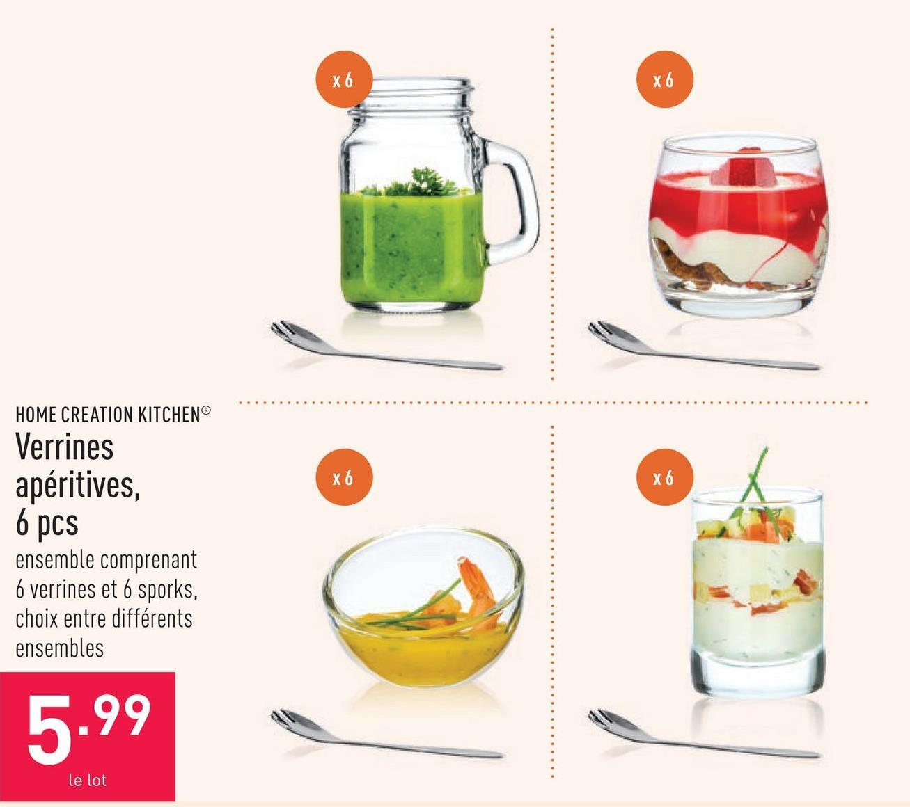 Verrines apéritives, 6 pcs ensemble comprenant 6 verrines et 6 sporks, choix entre différents ensembles
