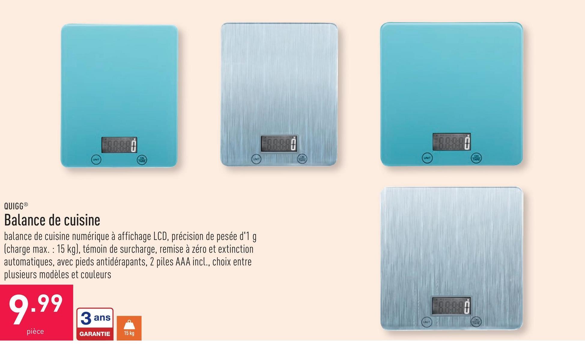 Balance de cuisine balance de cuisine numérique à affichage LCD, précision de pesée d'1 g (charge max. : 15 kg), témoin de surcharge, remise à zéro et extinction automatiques, avec pieds antidérapants, 2 piles AAA incl., choix entre plusieurs modèles et couleurs