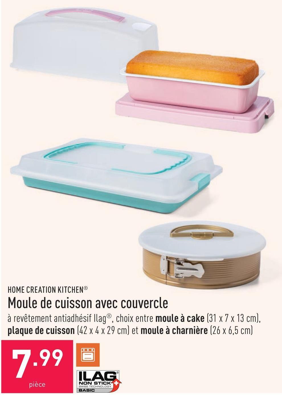 Moule de cuisson avec couvercle à revêtement antiadhésif Ilag®, choix entre moule à cake (31 x 7 x 13 cm), plaque de cuisson (42 x 4 x 29 cm) et moule à charnière (26 x 6,5 cm)