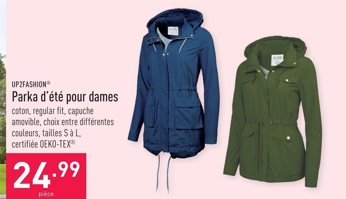 Parka d'été pour dames coton, regular fit, capuche amovible, choix entre différentes couleurs, tailles S à L, certifiée OEKO-TEX®
