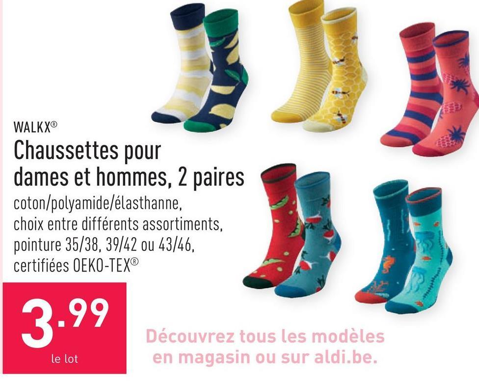 Chaussettes pour dames et hommes, 2 paires coton/polyamide/élasthanne, choix entre différents assortiments, pointure 35/38, 39/42 ou 43/46, certifiées OEKO-TEX®