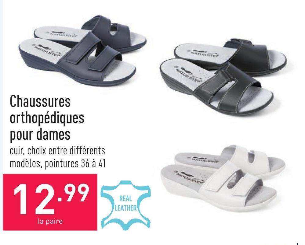 Chaussures orthopédiques pour dames cuir, choix entre différents modèles, pointures 36 à 41