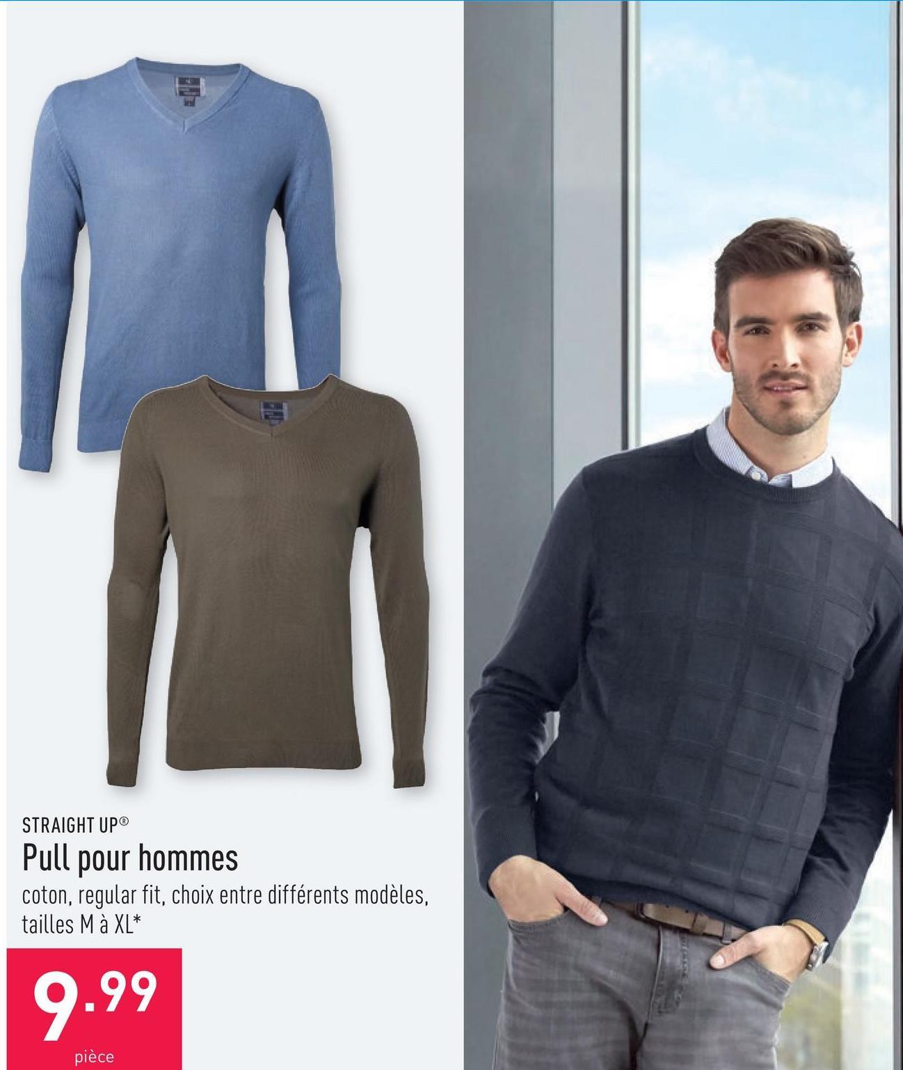 Pull pour hommes coton, regular fit, choix entre différents modèles, tailles M à XL*