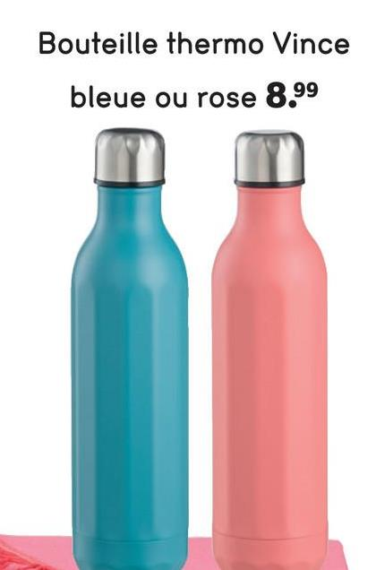 Bouteille thermo Vince bleue ou rose 8.99