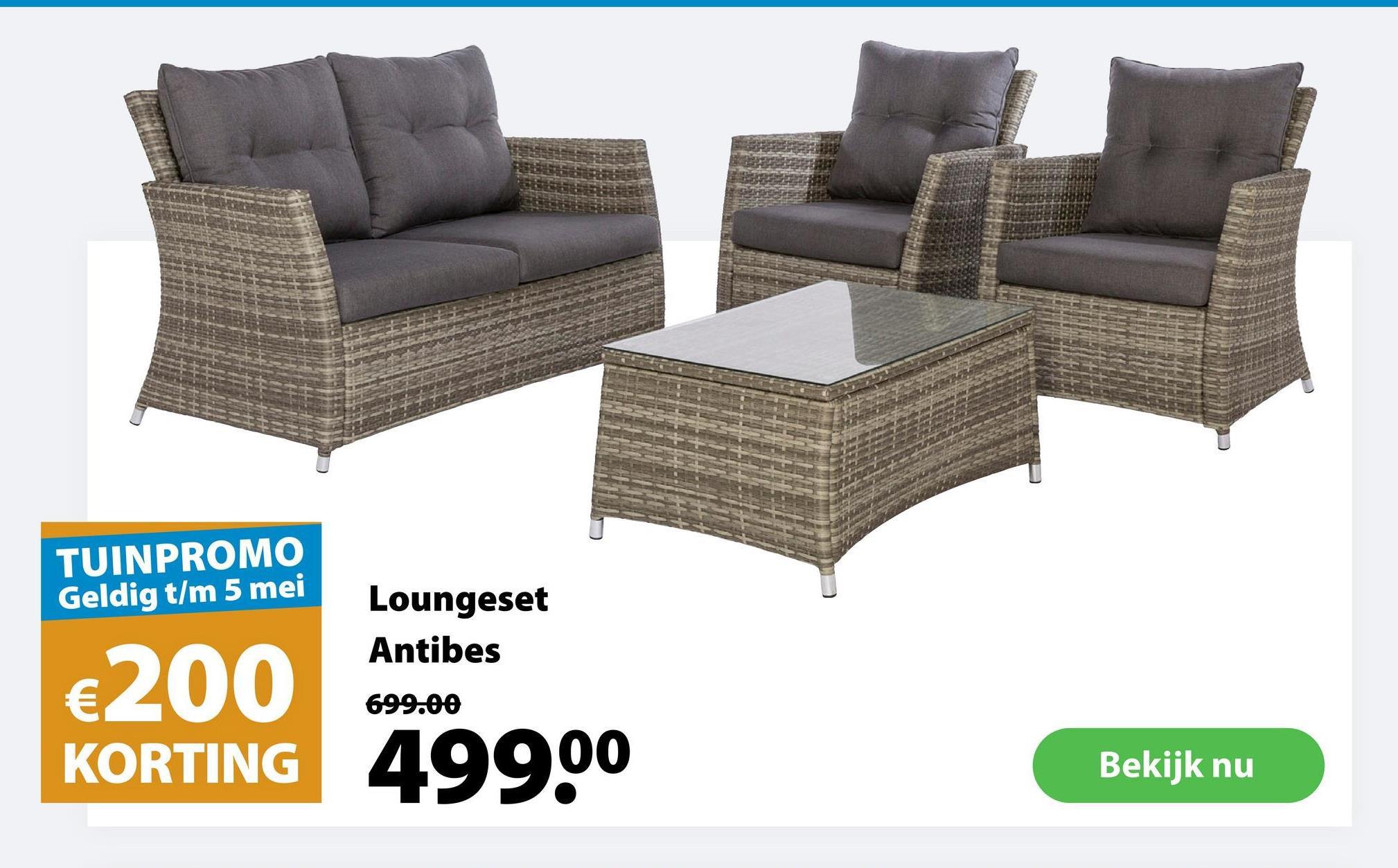 Loungeset Antibes De loungeset Antibes is een klassieke loungeset voor 4 personen gemaakt uit wicker in de kleur grijs. De set bestaat uit 1 zitbank voor 2, 2 stoelen en 1 lage tafel met een elegant tafelblad uit veiligheidsglas. Zowel de zitbank als de stoelen hebben een hoge rugleuning en worden geleverd met grijze rugkussens en zitkussens voor extra comfort. Deze tuinmeubelset is ideaal voor wie comfortabel van de zon, een hapje, een drankje, een boek ... en elkaar wil genieten. Goed om te weten: wicker is een weerbestendige gevlochten kunststof die tegen een stootje kan.