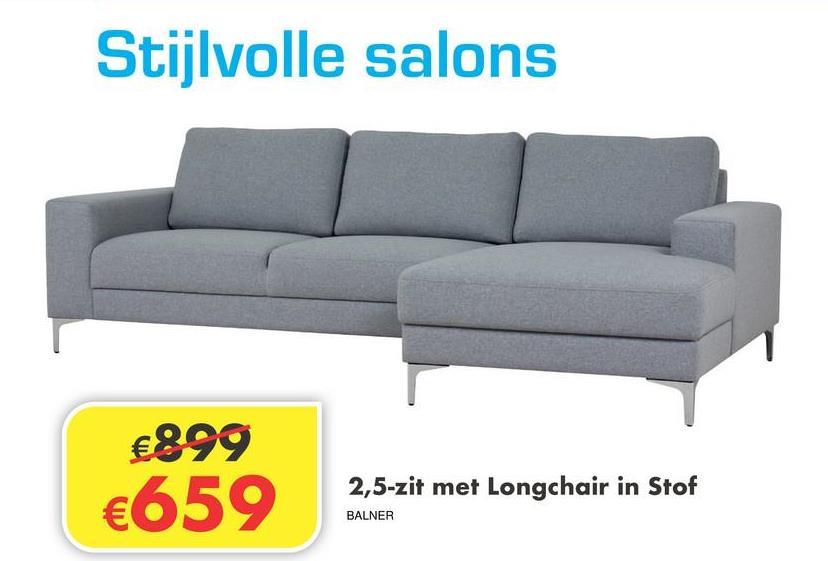 Salon Nero 2,5-zit met longchair.  Cat 1 in Nova Light Grey  Afmetingen: B x D x H  250 x 140 x 80cm