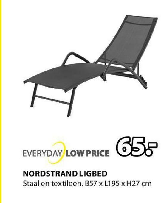 658 EVERYDAY LOW PRICE NORDSTRAND LIGBED Staal en textileen. B57 x L195 x H27 cm