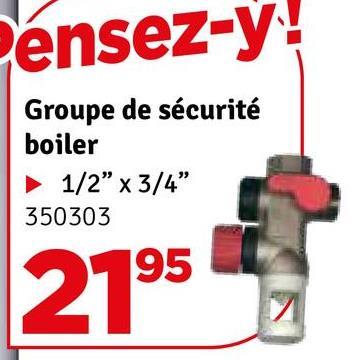 """ensez-y! Groupe de sécurité boiler 1/2"""" x 3/4"""" 350303 195 2195"""