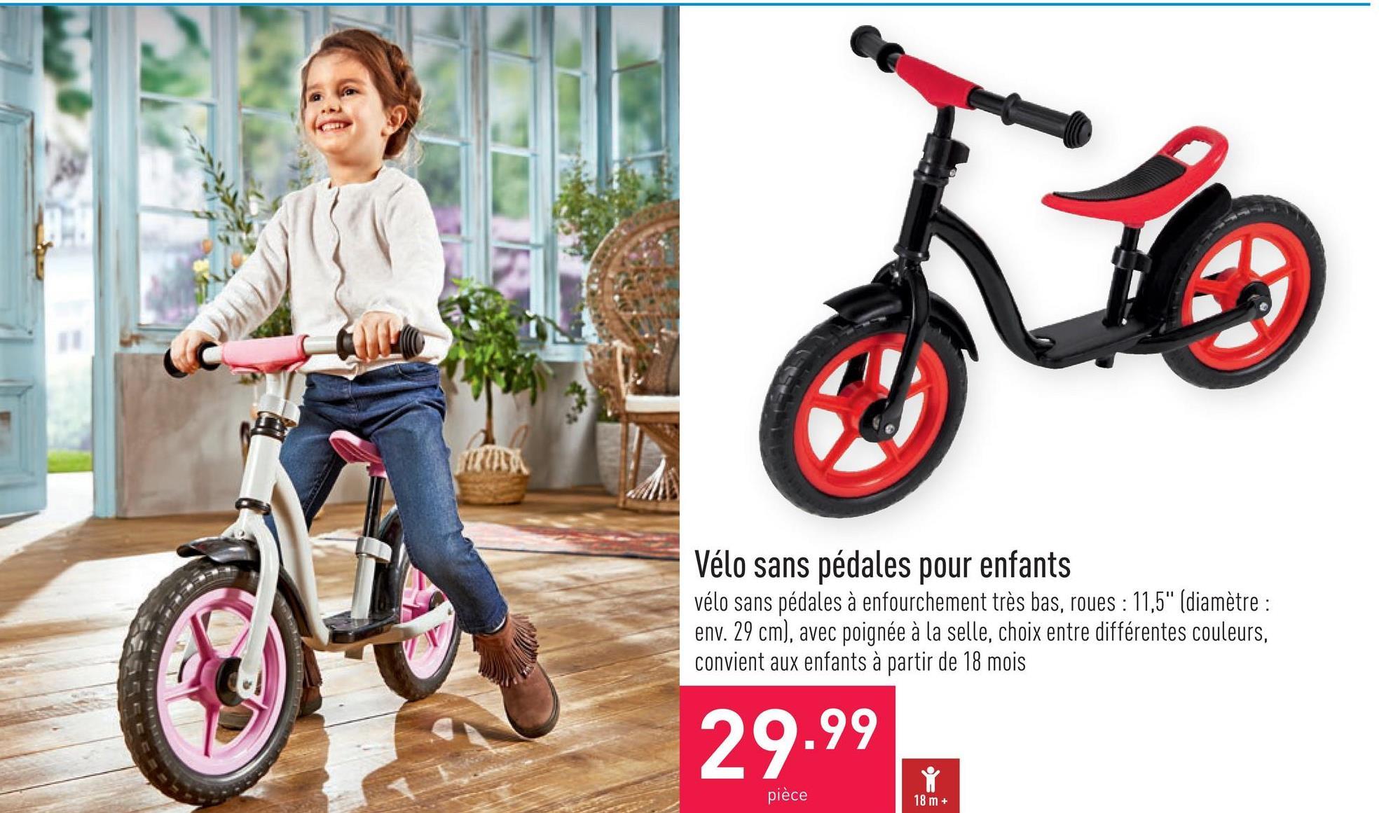 """Vélo sans pédales pour enfants vélo sans pédales à enfourchement très bas, roues : 11,5"""" (diamètre : env. 29 cm), avec poignée à la selle, choix entre différentes couleurs, convient aux enfants à partir de 18 mois"""