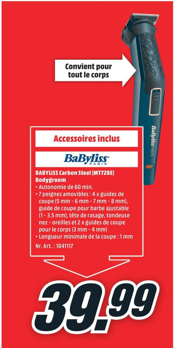 BABYLISS Bodygroom Carbon Steel (MT728E) BABYLISS Bodygroom Carbon Steel (MT728E)