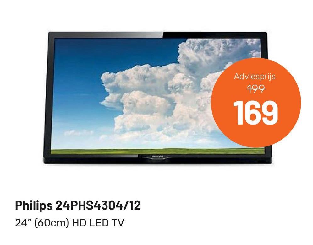 "Adviesprijs 199 169 Philips 24PHS4304/12 24"" (60cm) HD LED TV"