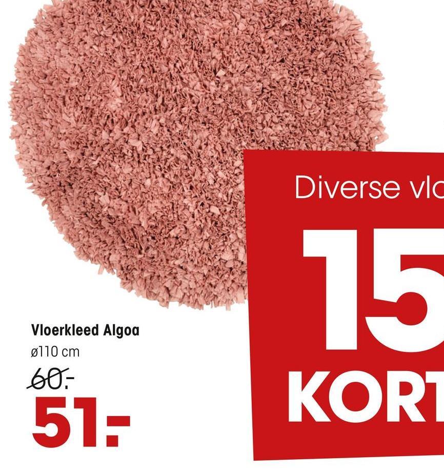 Vloerkleed Algoa Roze Sfeervol handgeweven vloerkleed in roze. Poolhoogte 5 cm. Doorsnede 110 cm.