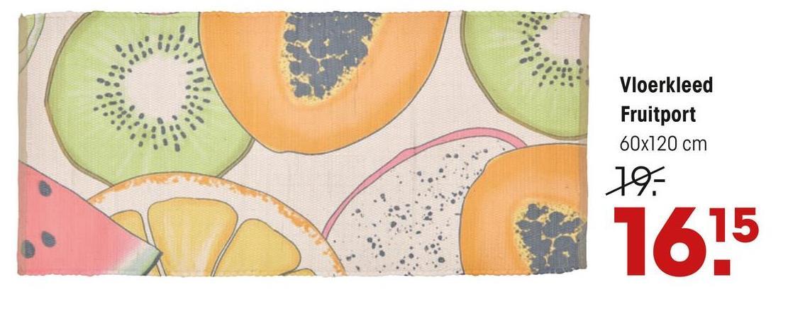 Vloerkleed Fruitport Multicolor Sfeervol handgeweven vloerkleed multicolor met fruit dessin. Afmeting 120x60 cm (lxb).