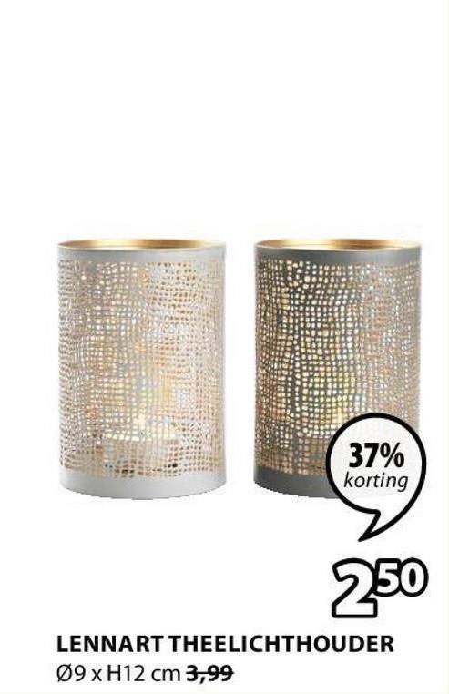 37% korting 250 LENNART THEELICHTHOUDER 09 x H12 cm 3,99