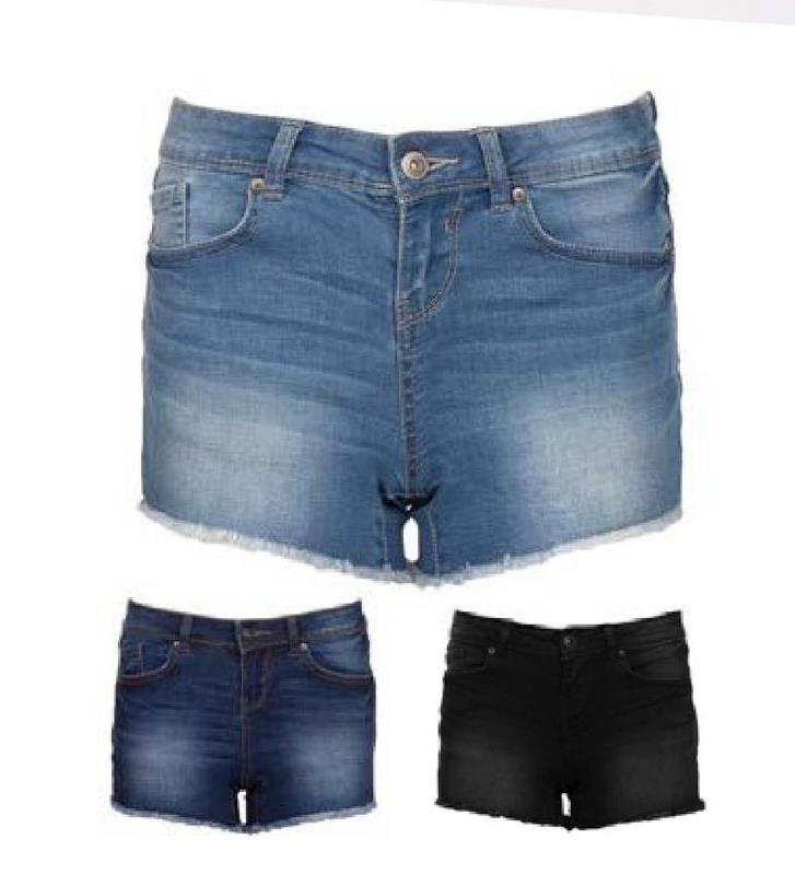 Jeansshort 2-Bizzy - Zwart - maat 34 - Dames   - Goedkope Shorts - Katoen - Korte broek Hippe 5-pocket jeansshort voor dames van het merk 2-Bizzy. Deze short sluit met een knop en een rits. Combineer met een top en een paar sandalen en jouw zomerse look is af!