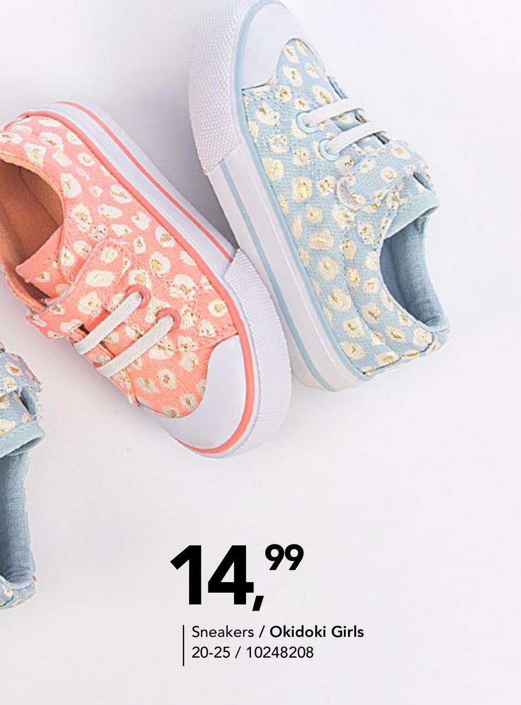 Sneaker met print Okidoki Girls - Blauw - maat 20 - Goedkope Canvasschoenen - Canvas Dankzij de klittenband en de elastische veters trekt jouw kleine meid deze sneakers met zomers printje gemakkelijk aan en uit!
