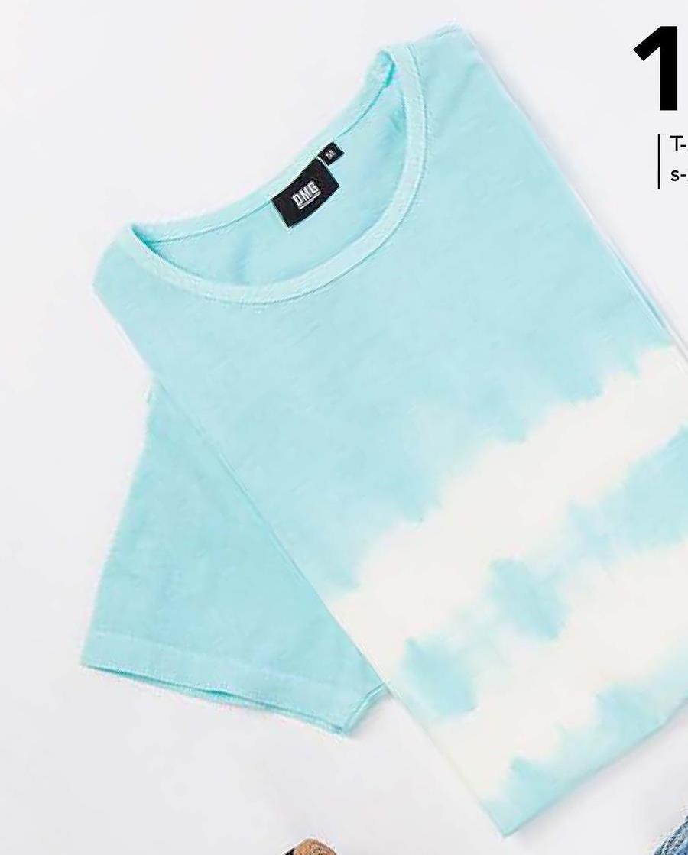 T-shirt tie-dye DMG - Turkoois / Turquoise - maat S - Heren   - Goedkope T-shirts met korte mouwen - Katoen - Korte mouwen Heren T-shirt met ronde hals en korte mouwen van het merk DMG. Dit 100% katoenen T-shirt heeft een opvallende tie-dye print. Musthave voor de zomer!