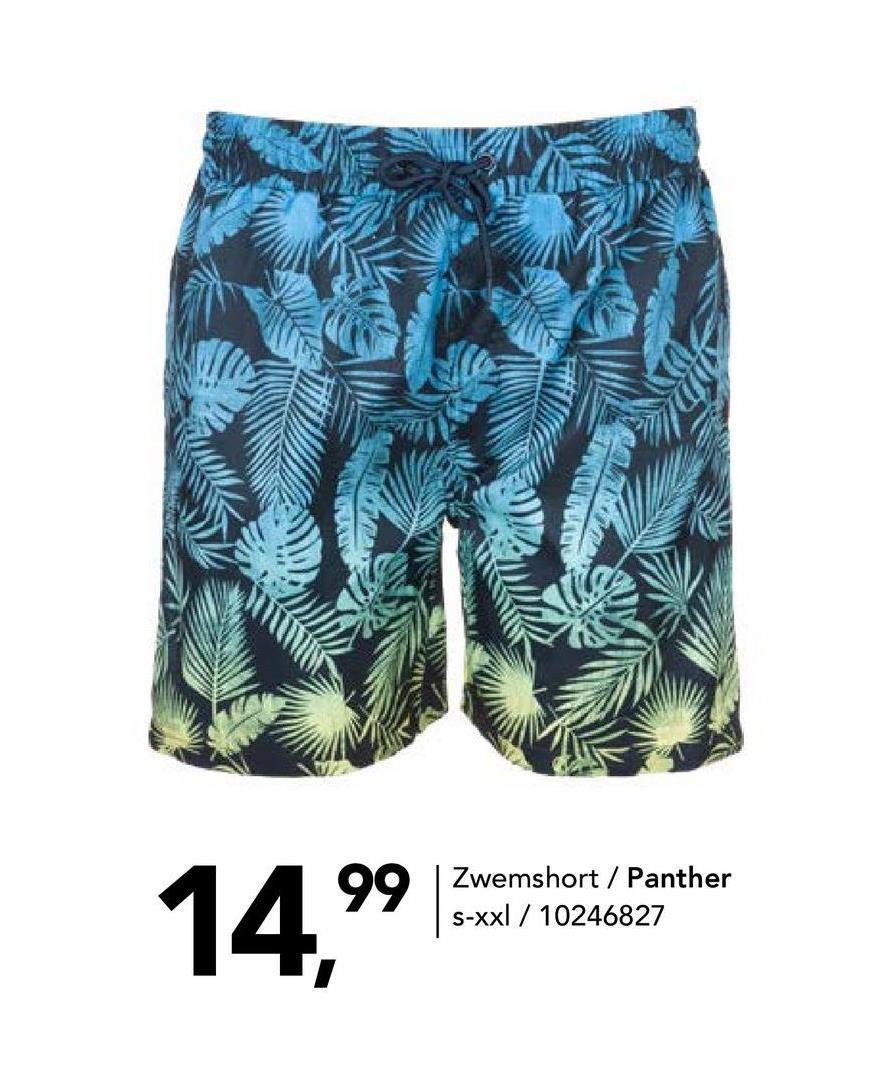 Beachshort met tropische print Panther - Print - maat S - Heren   - Goedkope Badmode - Polyester Op zoek naar een leuke beachshort voor heren? Koop online deze beachshort met tropische bladprint en elastische taille met aantrekkoordje. Klaar voor de vakantie!