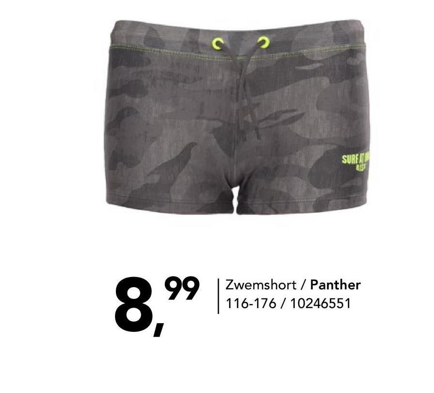 Zwemshort met camouflageprint Panther - Multicolor - maat 116 - Jongens   - Goedkope Badmode - Polyester Aansluitende grijze zwemshort met army print voor jongens. Deze zwemshort heeft een elastische taille en een handig aansnoerkoord.