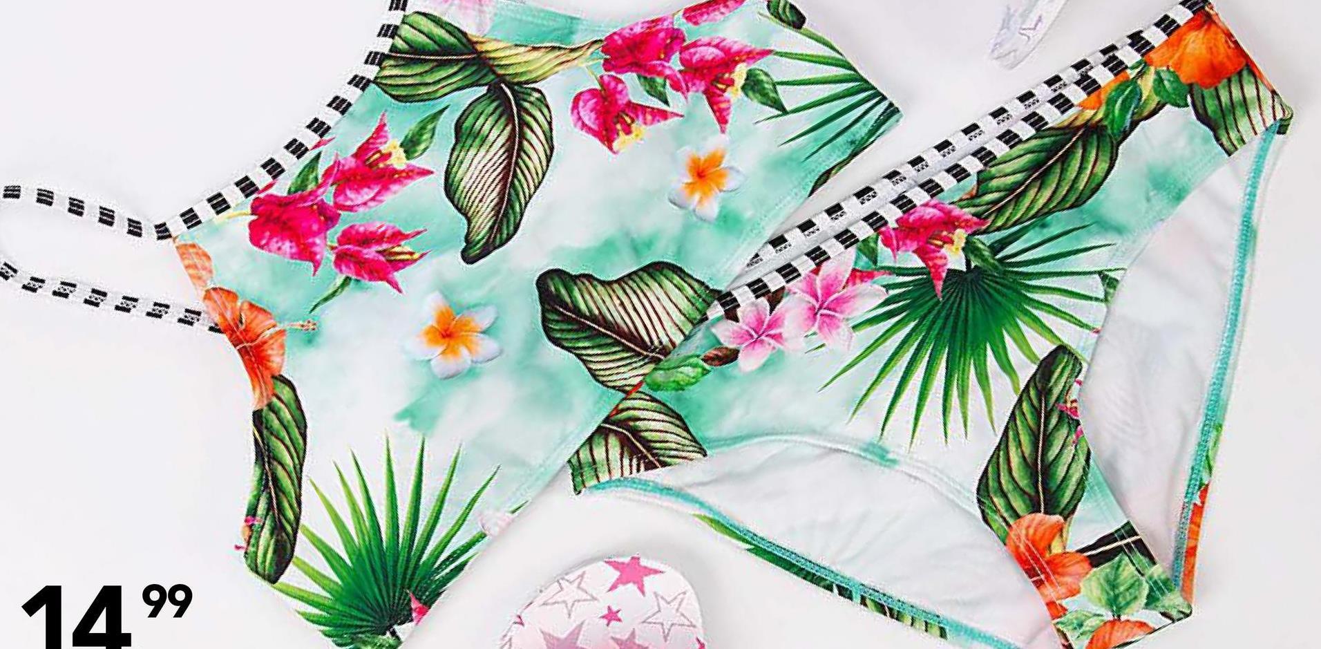Bikini met tropische print Panther - Groen - maat 128 - Meisjes   - Goedkope Badmode - Polyamide Erg leuk bikinitopje en -broekjemet tropische print voor meisjes. Perfect om te dragen op vakantie!
