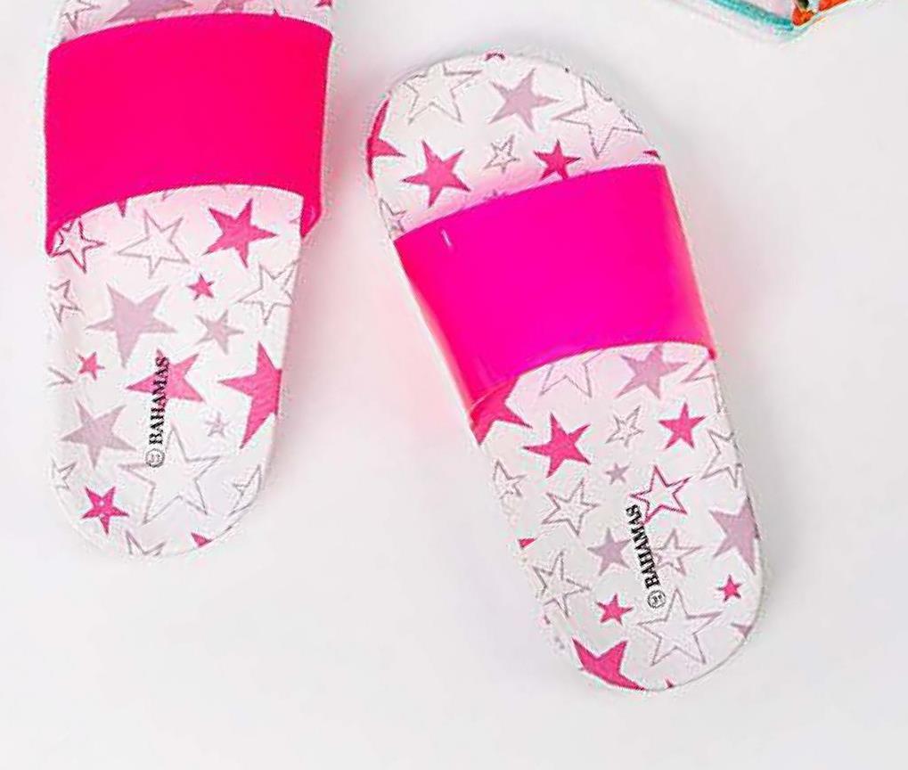 Slipper met sterrenprint Bahamas - Lila - maat 28 - Meisjes   - Goedkope Slippers - Badslippers - Synthetisch Met deze slippers met sterrenprint gaan alle meisjes vol zelfvertrouwen naar het zwembad, zowel thuis als op vakantie.