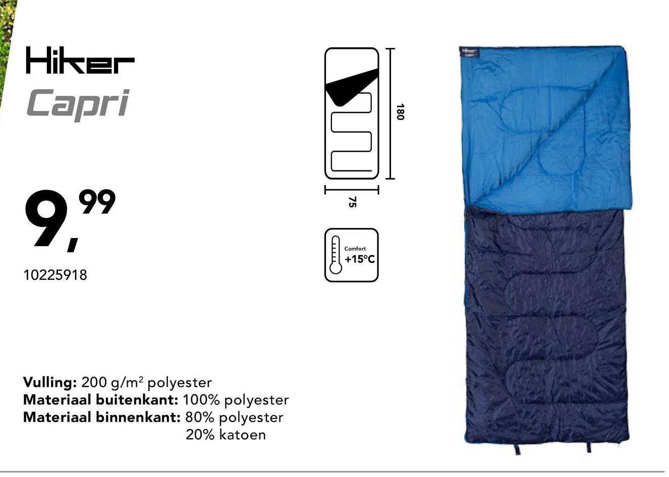 Slaapzak Capri Hiker - Blauw - Goedkope Slaapzakken - Nog op zoek naar dé ideale slaapzak om te kamperen? Zoek niet langer en probeer deze lekker warme slaapzak!