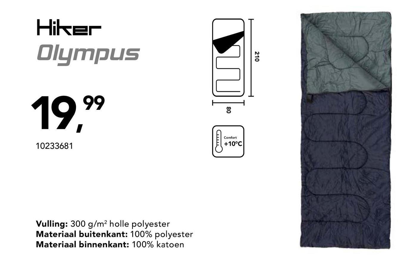 Slaapzak Olympus Hiker - Grijs - Goedkope Slaapzakken - Comfortabele slaapzak voor 1 persoon. Vulling: 300gr/m² holle polyester. Buitenkant: 100% polyester. Binnenkant: 100% katoen. Comforttemperatuur +10°. Afmetingen: 210cm x 80cm.