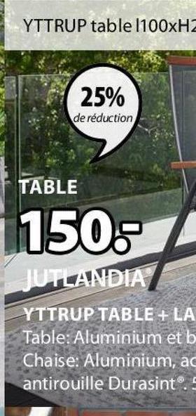 YTTRUP table 1100xH2 25% de réduction TABLE 150. JUTLANDIA YTTRUP TABLE + LA Table: Aluminium et b Chaise: Aluminium, ac antirouille Durasint.