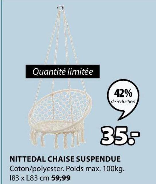 Quantité limitée 42% de réduction 352 NITTEDAL CHAISE SUSPENDUE Coton/polyester. Poids max. 100kg. 183 x L83 cm 59,99